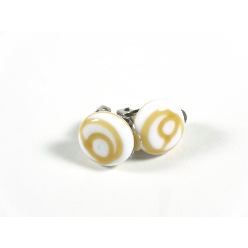 Clips d'oreilles blanc et ambre