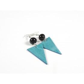 Boucles d'oreilles Cuir turquoise, noir