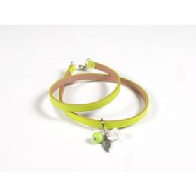 Bracelet Un-tour-puis-deux jaune anis, vert anis et incolore
