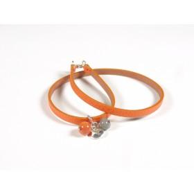 Bracelet Un-tour-puis-deux orange, corail et gris foncé