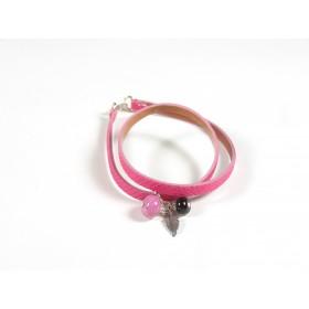 Bracelet Un-tour-puis-deux fuchsia, noir rose fuchsia