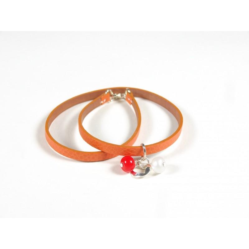 Bracelet Un-tour-puis-deux orange, givré blanc orange
