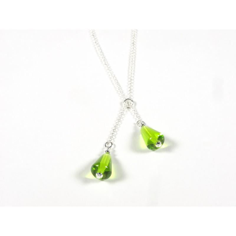 Collier Décalé, vert anis transparent
