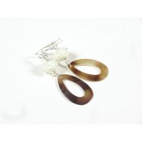 Boucles Nacre, ivoire clair pois incolores en relief