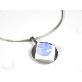 Collier Pastille, bleu hortensia et transparent, blanc