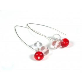 Boucles d'oreilles Perlinettes, rouge transparent