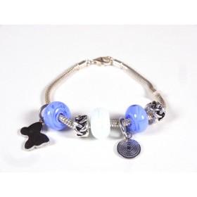 Bracelet Evoluto, bleu hortensia et blanc
