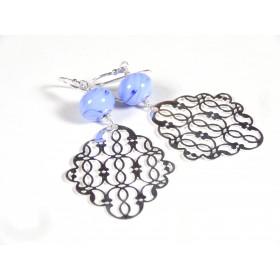 Boucles d'oreilles Estampe, bleu hortensia