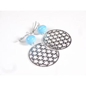 Boucles d'oreilles Estampe, bleu turquoise clair