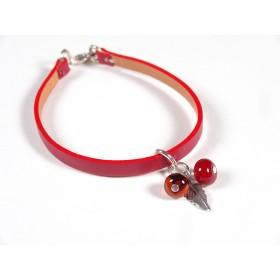 Bracelet Cuir perlé rouge, rouge et ambre