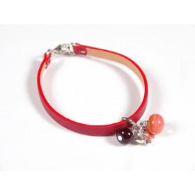 Bracelet Cuir perlé rouge, rouge et corail