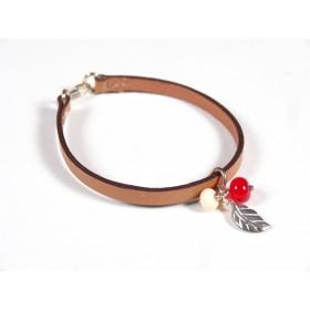 Bracelet Cuir perlé gold, rouge et ivoire