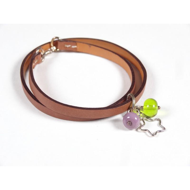 Bracelet Un-tour-puis-deux gold, taupe vert anis