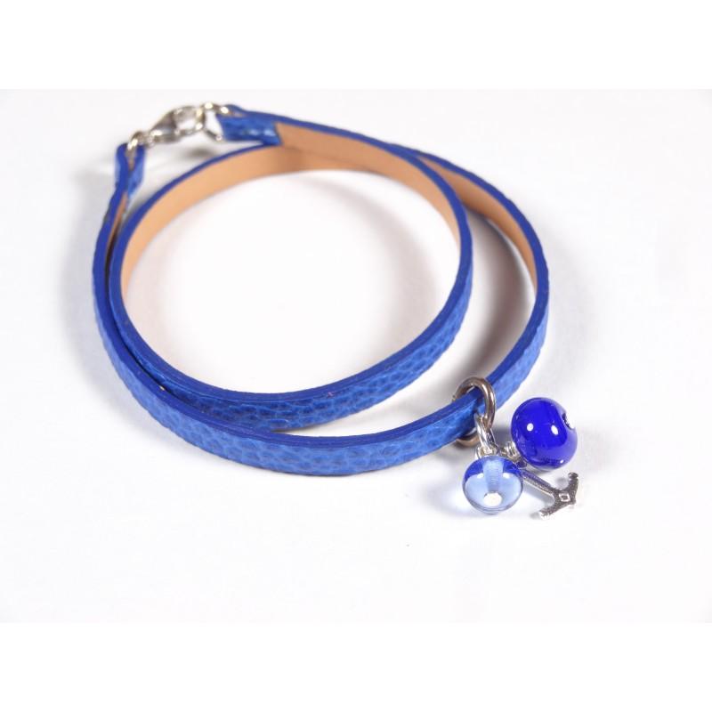 Bracelet Un-tour-puis-deux bleu, bleu roi et doux