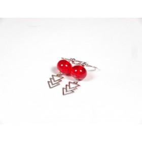 Boucles d'oreilles, rouge transparent