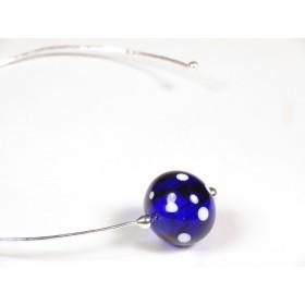 Collier Tour-de-cou, plaqué argent martelé, bleu cobalt et blanc