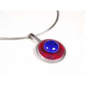 Collier Pastille, bleu roi et transparent incolore