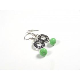 Boucles d'oreilles Les Rondes, vert nil