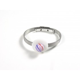 Bracelet Soucoupe, rose fils rouge et bleu