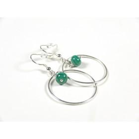 Boucles d'oreilles Créolines, vert emeraude