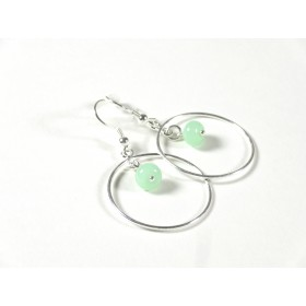 Boucles d'oreilles Créolines, jade