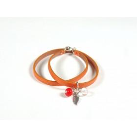 Bracelet Un-tour-puis-deux orange, incolore orange