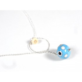 Collier O'perle, bleu turquosie à pois