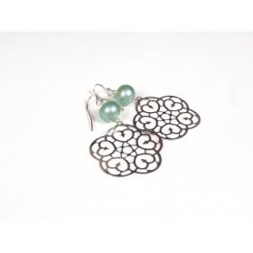 Boucles d'oreilles Estampe, vert nacré