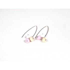 Boucles d'oreilles Perlinettes, rose blanc beige