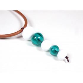 Collier cuir Totem, vert marin et blanc
