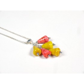 Collier Grapperon, corail et jaune moutarde