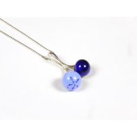 Collier Cherry bleu hortensia et bleu roi