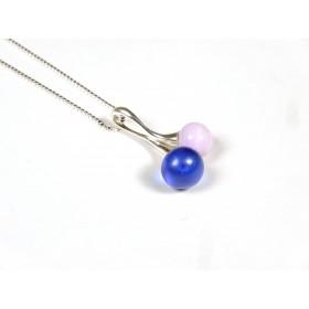 Collier Cherry bleu givré et rose pale