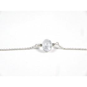 Bracelet Perle fine, incolore feuille d'argent