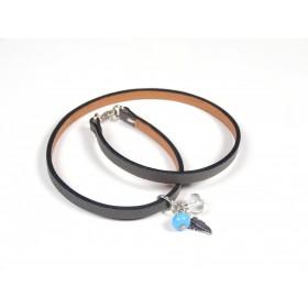 Bracelet Un-tour-puis-deux gris foncé, bleu turquoise et incolore