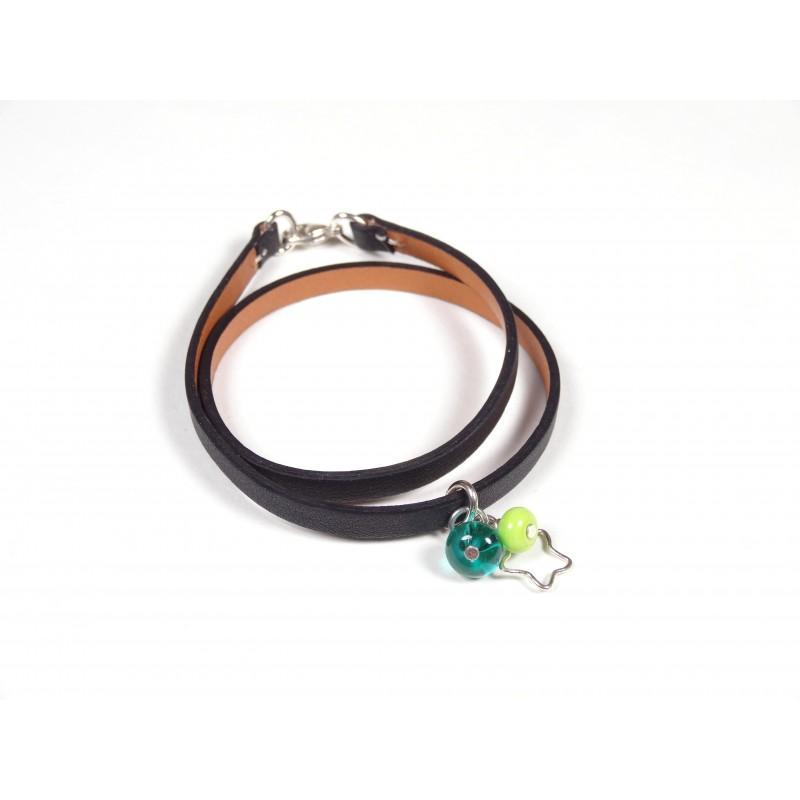 Bracelet Un-tour-puis-deux noir, vert anis et vert marin