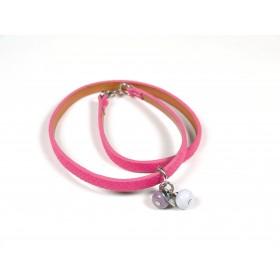Bracelet Un-tour-puis-deux fuchsia, gris clair taupe