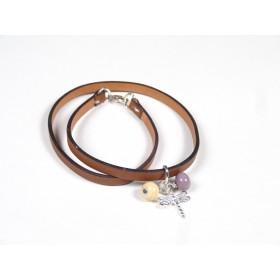 Bracelet Un-tour-puis-deux gold, ivoire, taupe