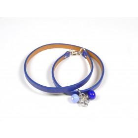 Bracelet Un-tour-puis-deux bleu, bleu hortensia et roi