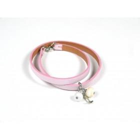 Bracelet Un-tour-puis-deux rose pâle, ivoire