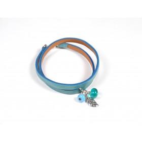 Bracelet Un-tour-puis-deux, turquoise et vert marin