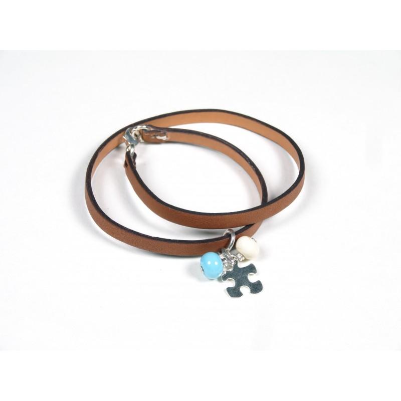 Bracelet Un-tour-puis-deux gold, ivoire et bleu turquoise