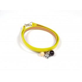 Bracelet Un-tour-puis-deux jaune moutarde, beige marron