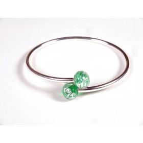 Bracelet Toi et Moi vert transparent foncé feuille d'argent