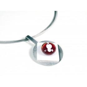 Collier Pastille, rouge transparent et blanc
