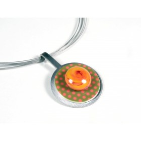 Collier Pastille, corail et transparent