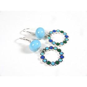 Boucles d'oreilles Les Rondes, bleu turquoise