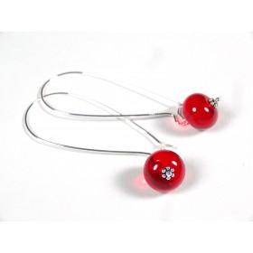 Boucles d'oreilles Effilées, rouge transparent