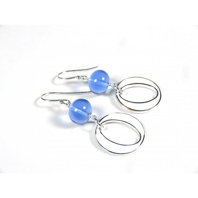 Boucles d'oreilles Les Rondes, bleu doux transparent
