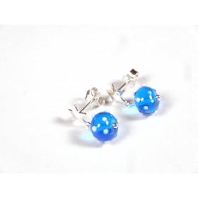 Clous pendants étoilés, bleu turquoise transparent pois blancs